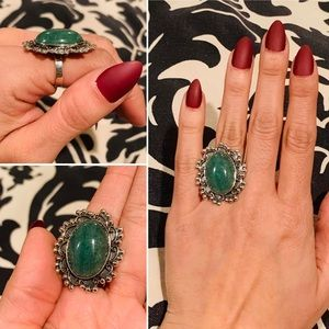 Taxco Sterling silver Jade ring adjustable size